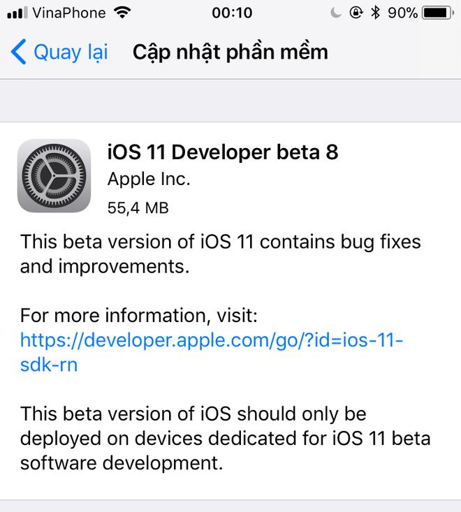 ios-11-beta-8 iOS 11 beta 8 chính thức được phát hành, rất có thể đây là phiên bản beta cuối cùng