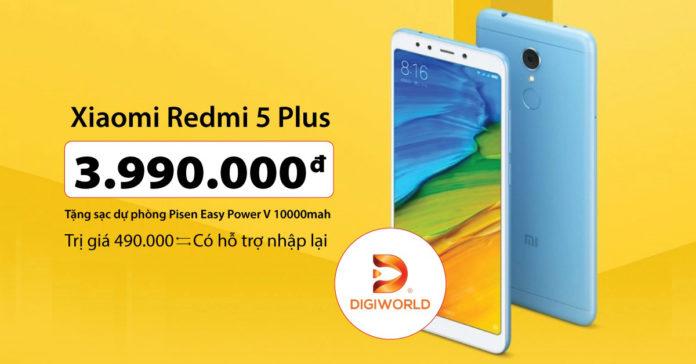 """Xiaomi Redmi 5 Plus chính hãng """"cập bến"""" giá 3.99 triệu đồng tặng Sạc dự phòng Pisen 10.000 mAh"""