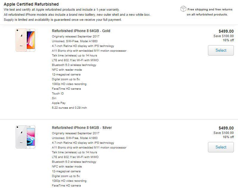 Apple mở bán iPhone 8 và 8 Plus Refurbished với giá chỉ từ