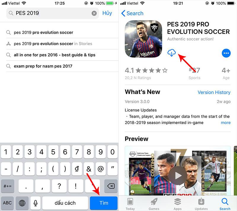 Hướng dẫn cách tải PES 2019 cho iOS và Android tại Việt Nam