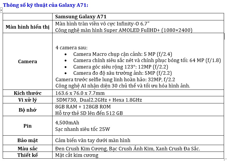 Galaxy A71 ra mắt