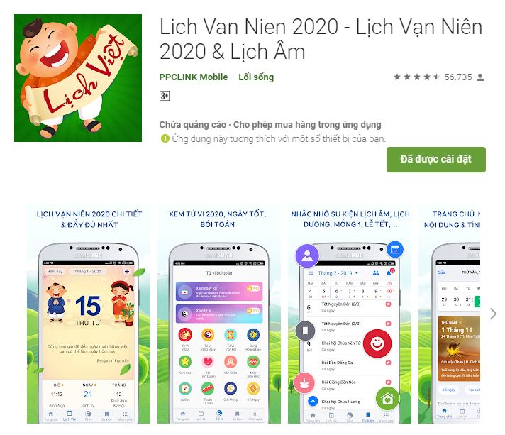 ứng dụng lịch vạn niên 2020