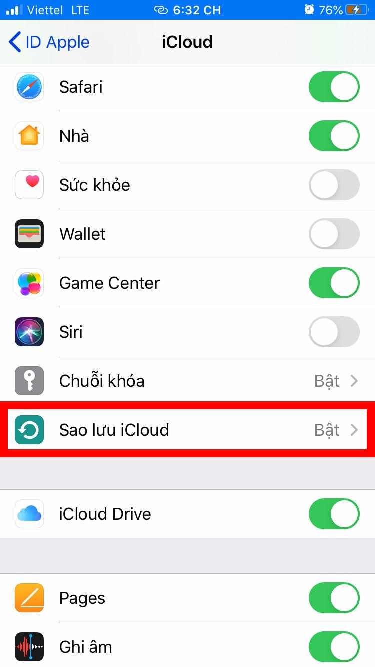 Cách sao lưu iCloud trên iPhone