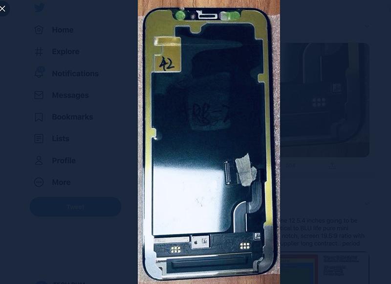 """Hình ảnh rò rỉ cho thấy phần """"tai thỏ"""" của iPhone 12 vẫn sẽ có kích thước như iPhone 11"""