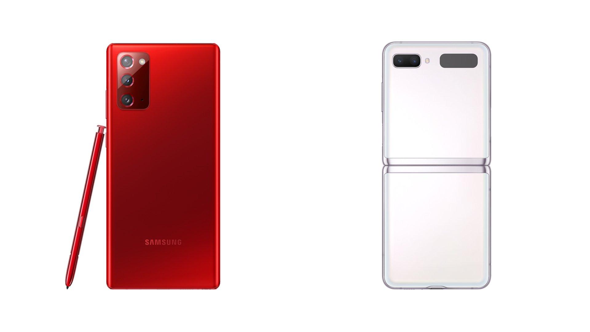 Samsung-Galaxy-Note-20-Mystic-Red-Galaxy-Z-Flip-5G-Mystic-White