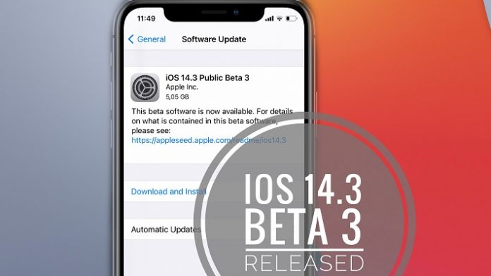phát hành iOS 14.3 beta 3